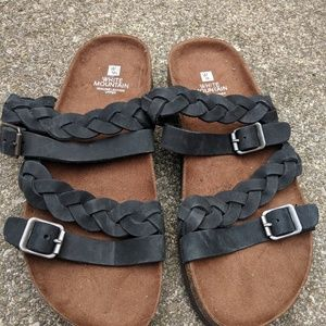 NWT White Mountain Black Leather Sandals Size 8M